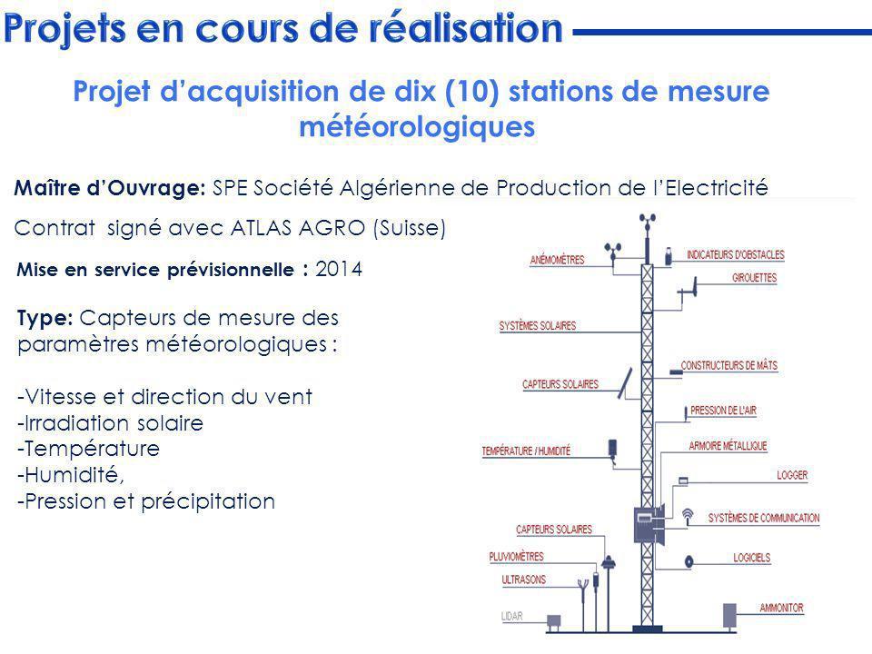 Maître dOuvrage: SPE Société Algérienne de Production de lElectricité Contrat signé avec ATLAS AGRO (Suisse) Mise en service prévisionnelle : 2014 Typ