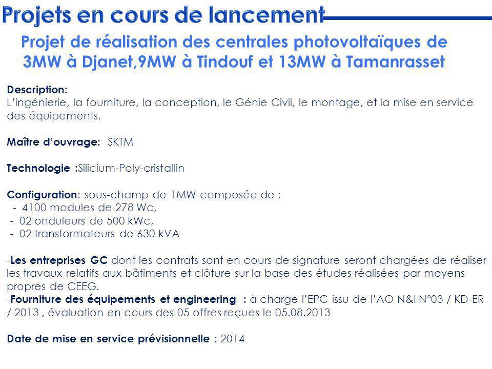 Projet de réalisation des centrales photovoltaïques de 3MW à Djanet,9MW à Tindouf et 13MW à Tamanrasset Description: Lingénierie, la fourniture, la co