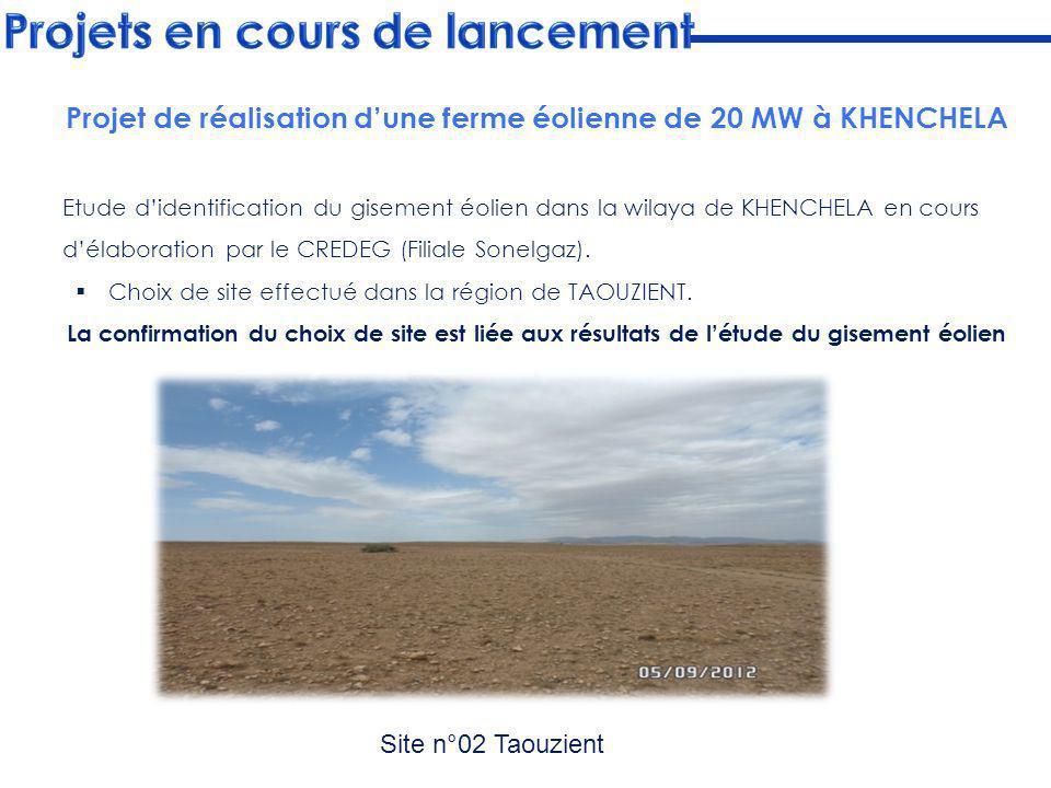 Etude didentification du gisement éolien dans la wilaya de KHENCHELA en cours délaboration par le CREDEG (Filiale Sonelgaz). Choix de site effectué da