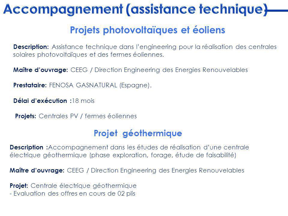 Description: Assistance technique dans lengineering pour la réalisation des centrales solaires photovoltaïques et des fermes éoliennes. Maître douvrag