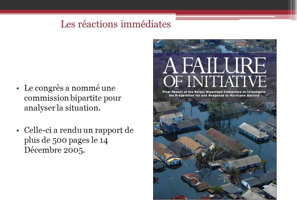 Le congrès a nommé une commission bipartite pour analyser la situation. Celle-ci a rendu un rapport de plus de 500 pages le 14 Décembre 2005. Les réac