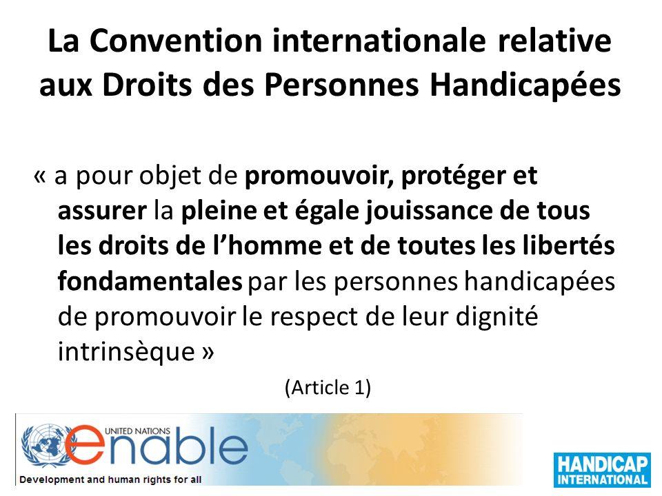 La Convention internationale relative aux Droits des Personnes Handicapées « a pour objet de promouvoir, protéger et assurer la pleine et égale jouiss
