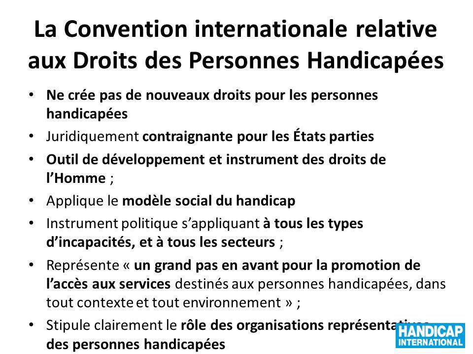 La Convention internationale relative aux Droits des Personnes Handicapées Ne crée pas de nouveaux droits pour les personnes handicapées Juridiquement