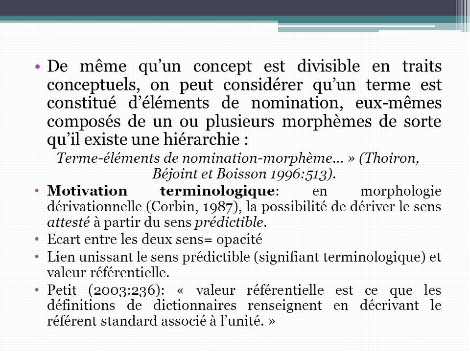 De même quun concept est divisible en traits conceptuels, on peut considérer quun terme est constitué déléments de nomination, eux-mêmes composés de u
