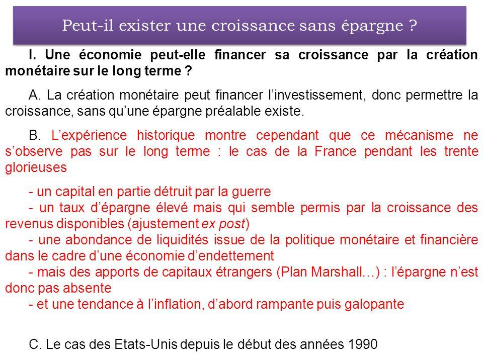 I. Une économie peut-elle financer sa croissance par la création monétaire sur le long terme ? A. La création monétaire peut financer linvestissement,