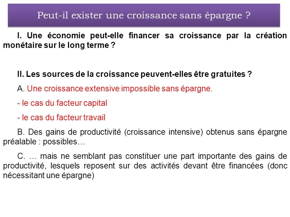 I. Une économie peut-elle financer sa croissance par la création monétaire sur le long terme ? II. Les sources de la croissance peuvent-elles être gra