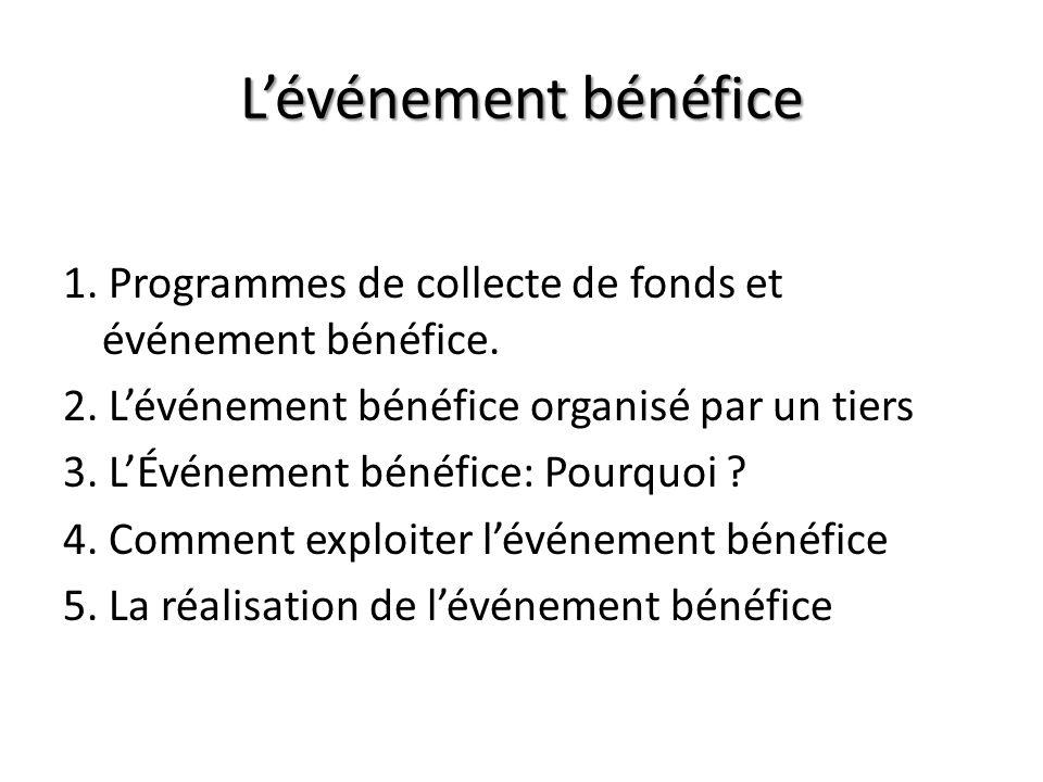 Lévénement bénéfice 1. Programmes de collecte de fonds et événement bénéfice. 2. Lévénement bénéfice organisé par un tiers 3. LÉvénement bénéfice: Pou