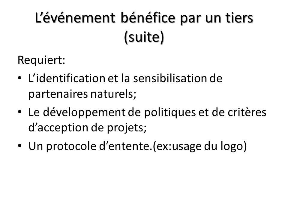 Lévénement bénéfice par un tiers (suite) Requiert: Lidentification et la sensibilisation de partenaires naturels; Le développement de politiques et de critères dacception de projets; Un protocole dentente.(ex:usage du logo)