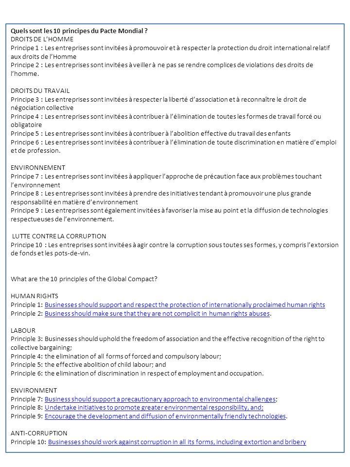 Quels sont les 10 principes du Pacte Mondial ? DROITS DE LHOMME Principe 1 : Les entreprises sont invitées à promouvoir et à respecter la protection d