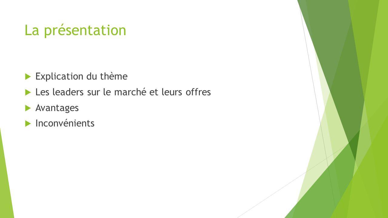 La présentation Explication du thème Les leaders sur le marché et leurs offres Avantages Inconvénients