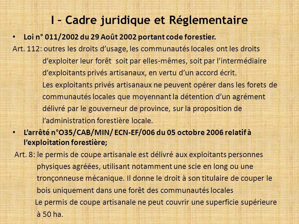 I – Cadre juridique et Réglementaire Loi n° 011/2002 du 29 Août 2002 portant code forestier.