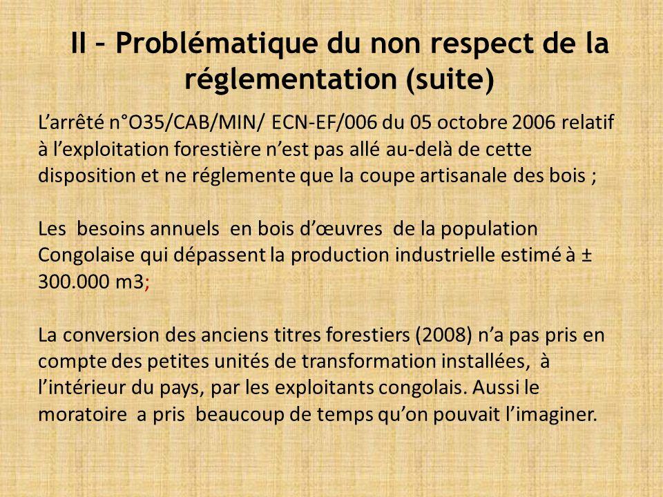 Larrêté n°O35/CAB/MIN/ ECN-EF/006 du 05 octobre 2006 relatif à lexploitation forestière nest pas allé au-delà de cette disposition et ne réglemente que la coupe artisanale des bois ; Les besoins annuels en bois dœuvres de la population Congolaise qui dépassent la production industrielle estimé à ± 300.000 m3; La conversion des anciens titres forestiers (2008) na pas pris en compte des petites unités de transformation installées, à lintérieur du pays, par les exploitants congolais.