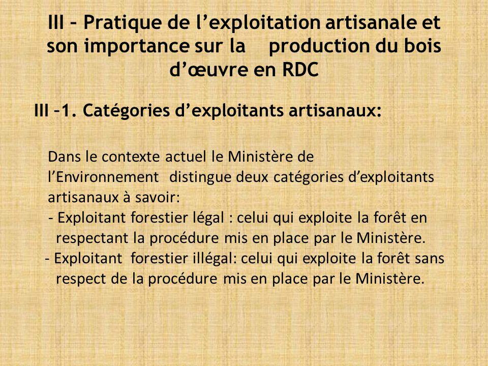 III – Pratique de lexploitation artisanale et son importance sur la production du bois dœuvre en RDC III –1.