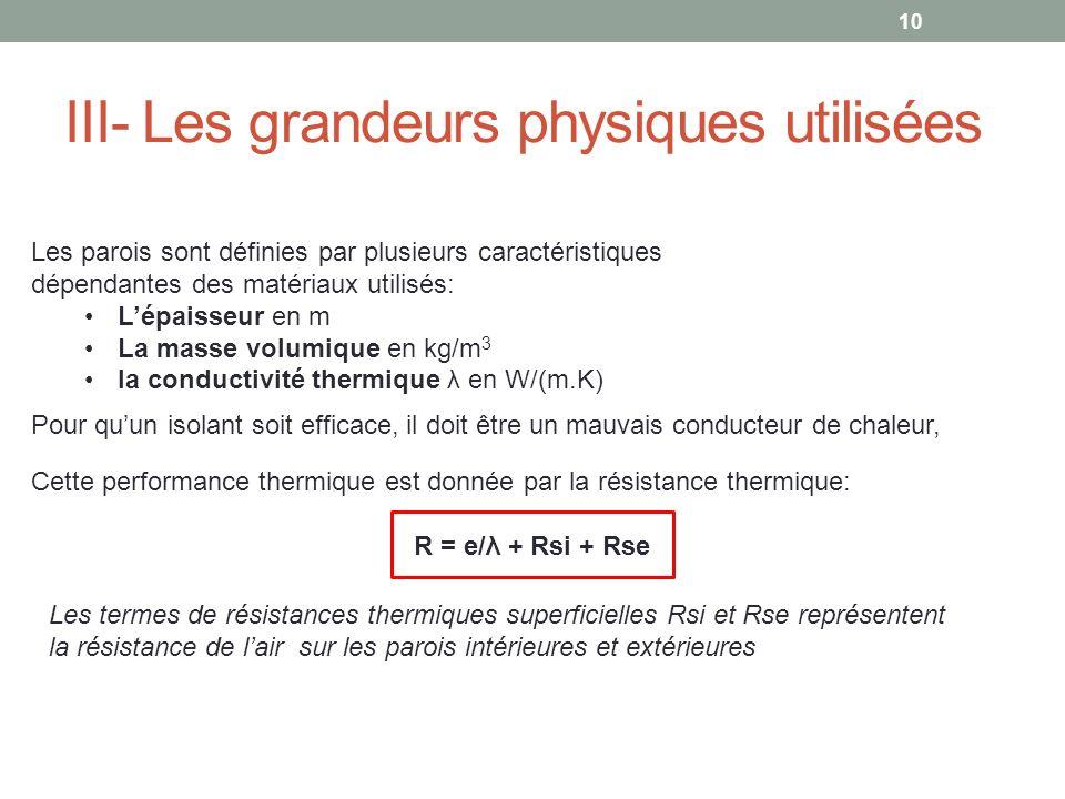 III- Les grandeurs physiques utilisées Les parois sont définies par plusieurs caractéristiques dépendantes des matériaux utilisés: Lépaisseur en m La