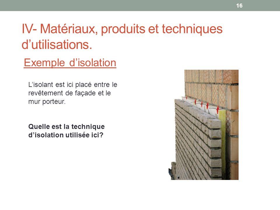 IV- Matériaux, produits et techniques dutilisations. Exemple disolation Lisolant est ici placé entre le revêtement de façade et le mur porteur. Quelle