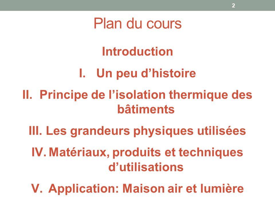 Plan du cours 2 Introduction I.Un peu dhistoire II.Principe de lisolation thermique des bâtiments III.Les grandeurs physiques utilisées IV.Matériaux,
