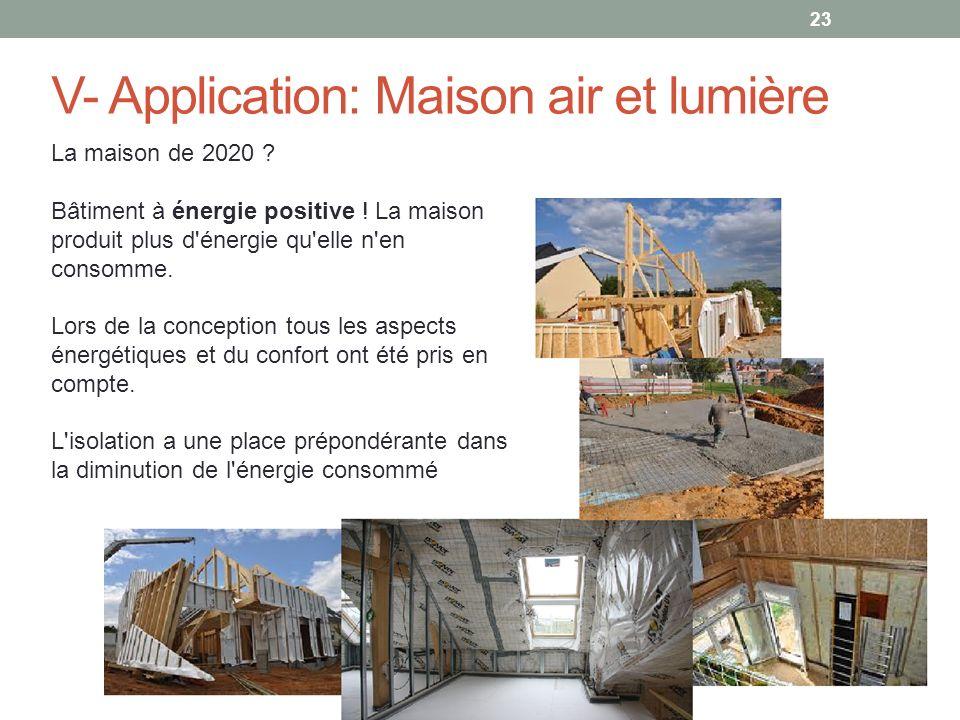 23 V- Application: Maison air et lumière La maison de 2020 ? Bâtiment à énergie positive ! La maison produit plus d'énergie qu'elle n'en consomme. Lor