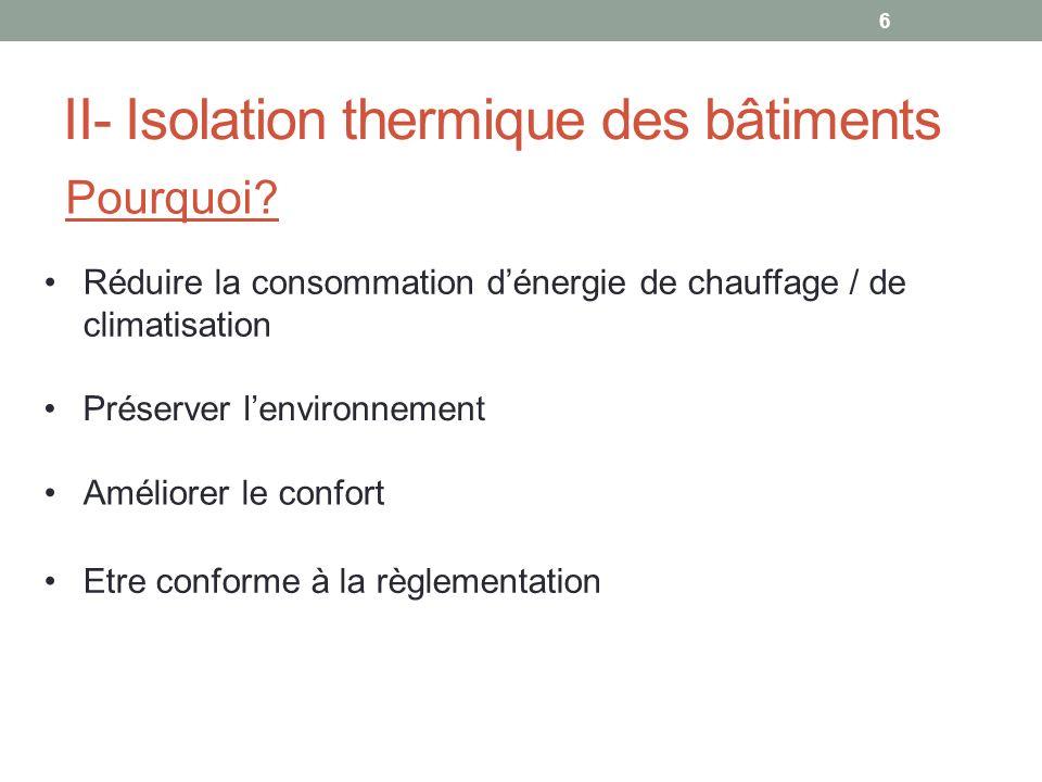 II- Isolation thermique des bâtiments Pourquoi? Préserver lenvironnement Améliorer le confort Etre conforme à la règlementation Réduire la consommatio