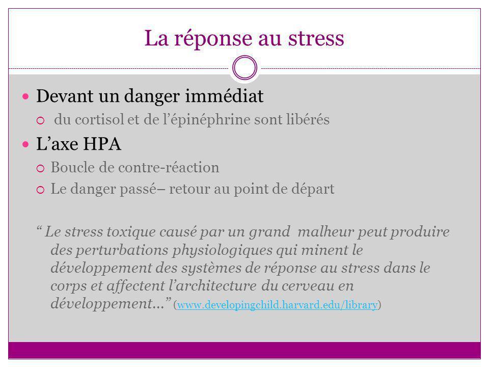 La réponse au stress Devant un danger immédiat du cortisol et de lépinéphrine sont libérés Laxe HPA Boucle de contre-réaction Le danger passé– retour