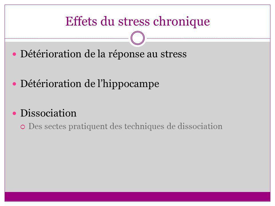 Effets du stress chronique Détérioration de la réponse au stress Détérioration de lhippocampe Dissociation Des sectes pratiquent des techniques de dis