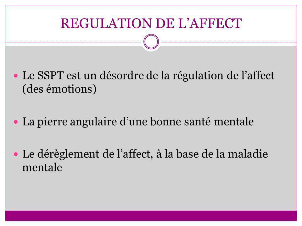 REGULATION DE LAFFECT Le SSPT est un désordre de la régulation de laffect (des émotions) La pierre angulaire dune bonne santé mentale Le dérèglement d