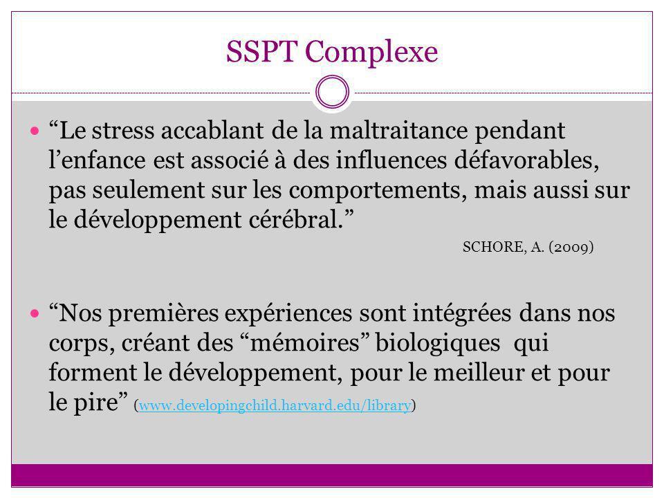 SSPT Complexe Le stress accablant de la maltraitance pendant lenfance est associé à des influences défavorables, pas seulement sur les comportements,