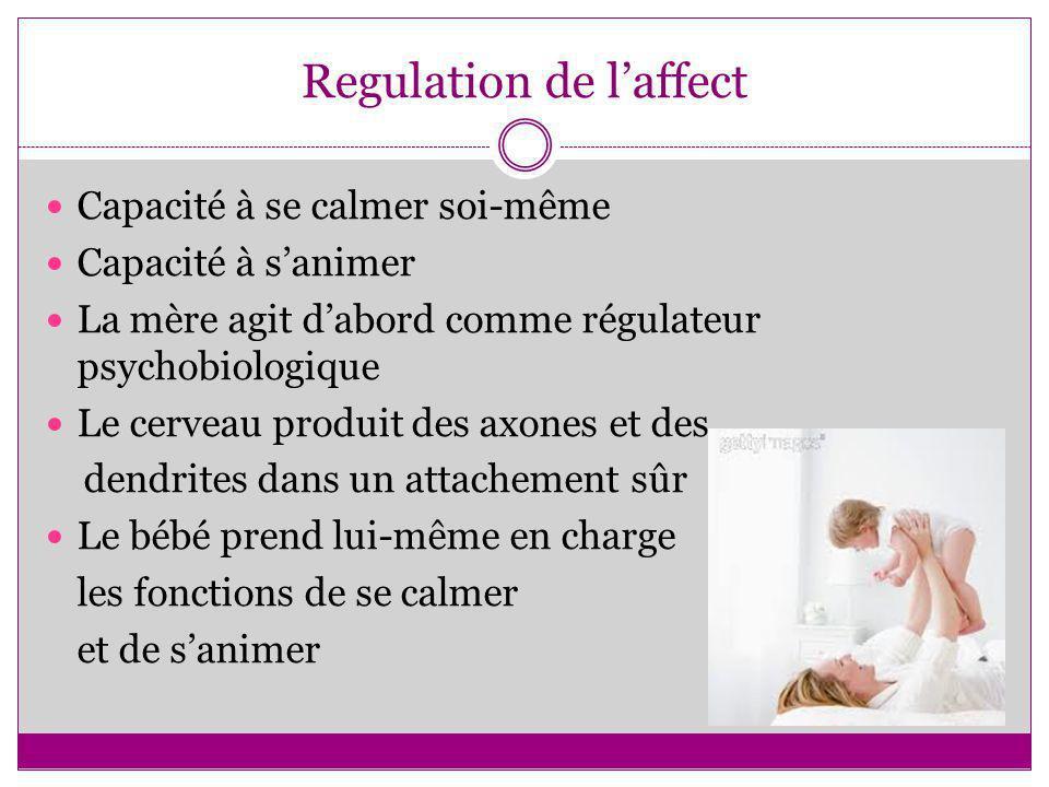 Regulation de laffect Capacité à se calmer soi-même Capacité à sanimer La mère agit dabord comme régulateur psychobiologique Le cerveau produit des ax