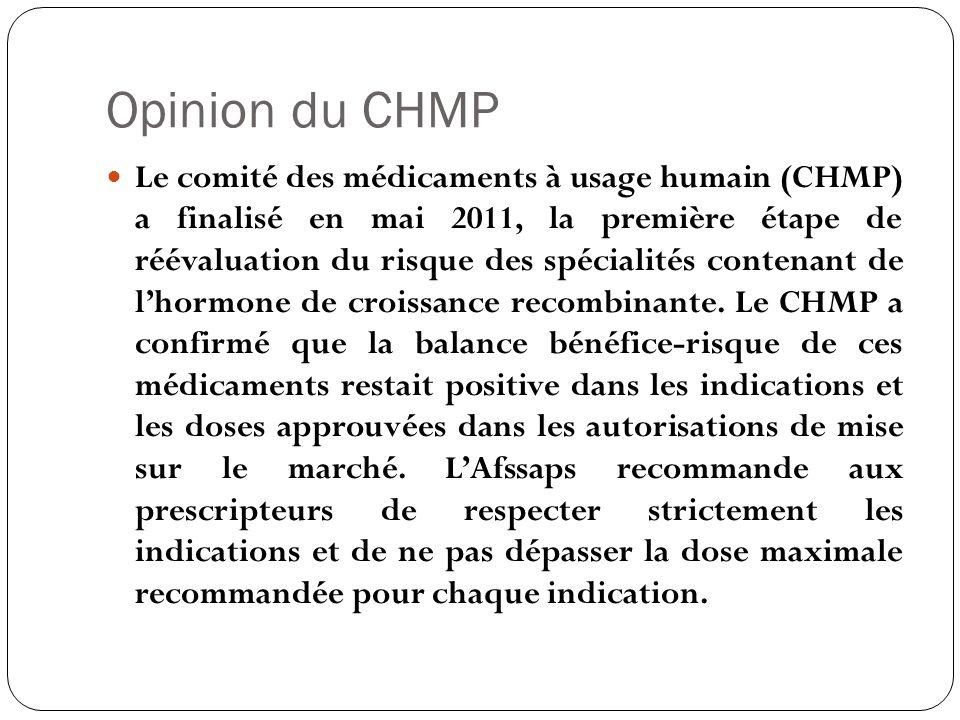 Opinion du CHMP Le comité des médicaments à usage humain (CHMP) a finalisé en mai 2011, la première étape de réévaluation du risque des spécialités co
