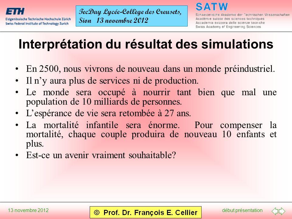 début présentation 13 novembre 2012 TecDay Lycée-Collège des Creusets, Sion 13 novembre 2012 Interprétation du résultat des simulations En 2500, nous vivrons de nouveau dans un monde préindustriel.