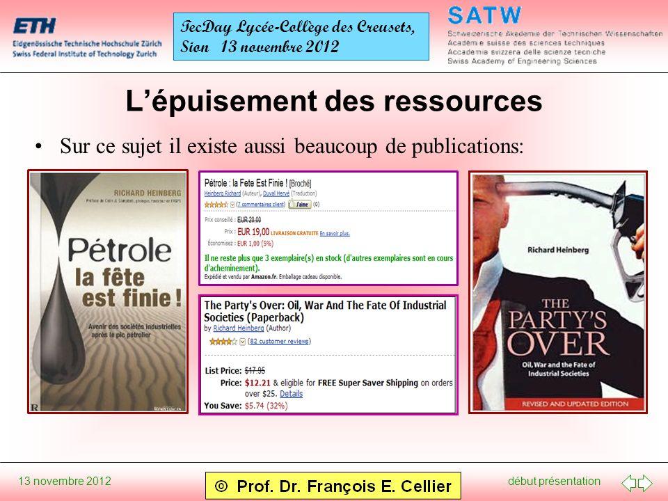début présentation 13 novembre 2012 TecDay Lycée-Collège des Creusets, Sion 13 novembre 2012 Lépuisement des ressources Sur ce sujet il existe aussi beaucoup de publications: