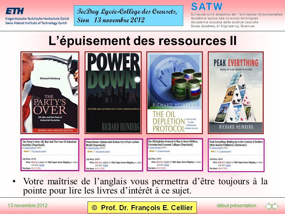début présentation 13 novembre 2012 TecDay Lycée-Collège des Creusets, Sion 13 novembre 2012 Lépuisement des ressources II Votre maîtrise de langlais