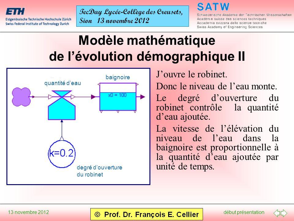 début présentation 13 novembre 2012 TecDay Lycée-Collège des Creusets, Sion 13 novembre 2012 Modèle mathématique de lévolution démographique II Jouvre le robinet.