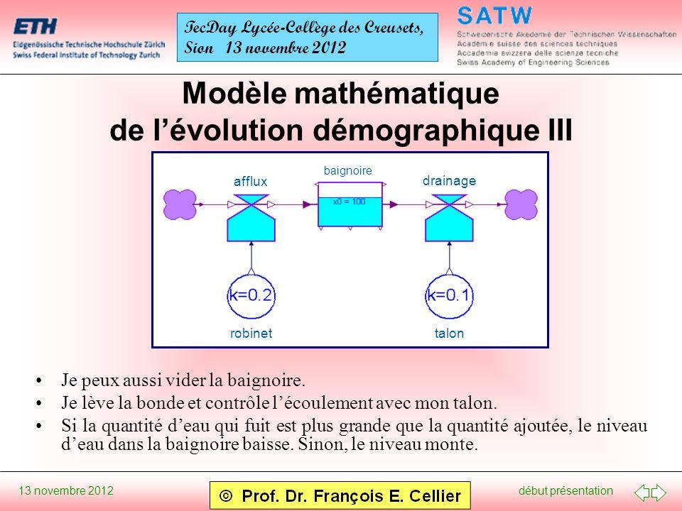 début présentation 13 novembre 2012 TecDay Lycée-Collège des Creusets, Sion 13 novembre 2012 Modèle mathématique de lévolution démographique III Je peux aussi vider la baignoire.
