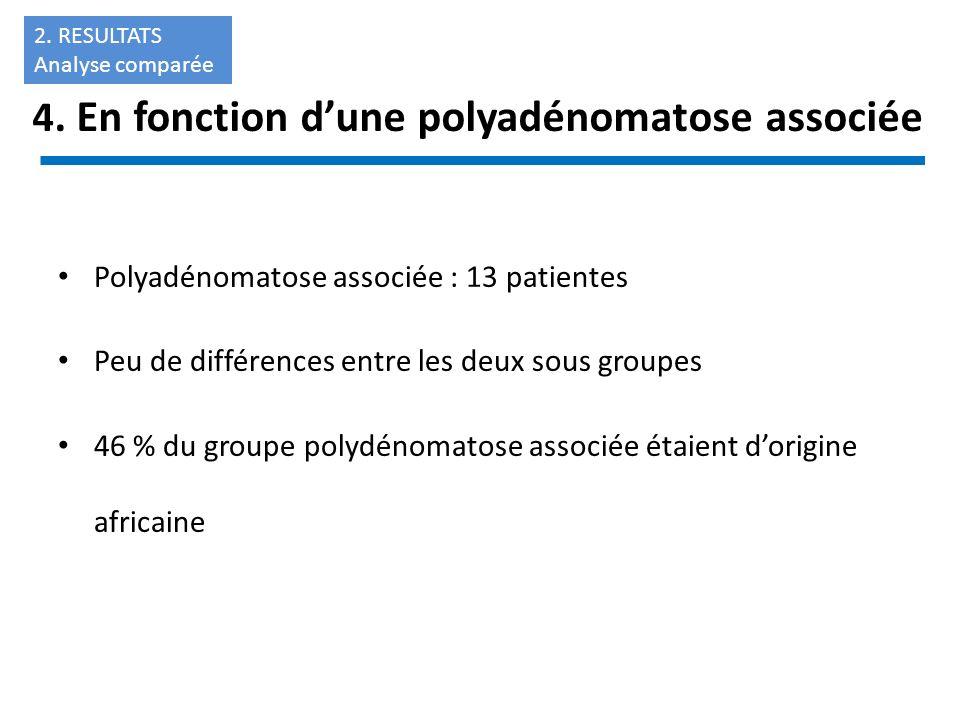 4. En fonction dune polyadénomatose associée Polyadénomatose associée : 13 patientes Peu de différences entre les deux sous groupes 46 % du groupe pol
