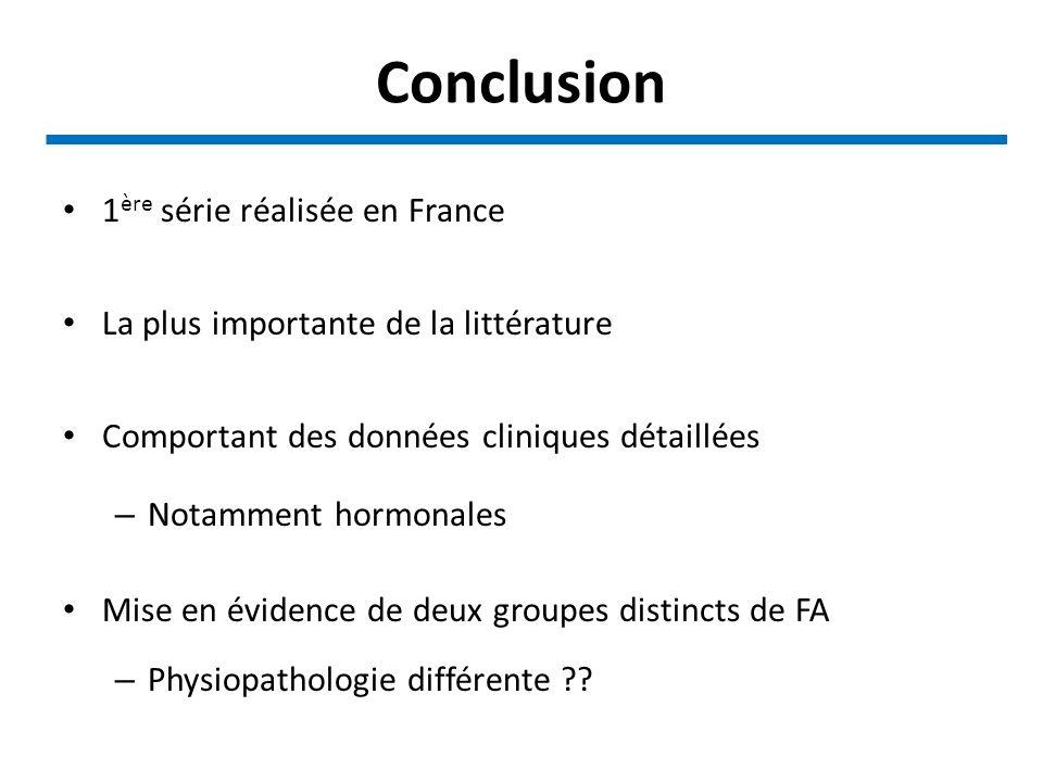 Conclusion 1 ère série réalisée en France La plus importante de la littérature Comportant des données cliniques détaillées – Notamment hormonales Mise