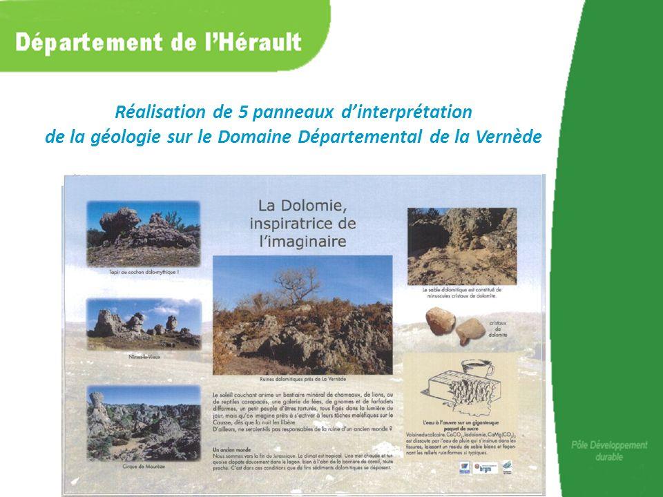 Réalisation de 5 panneaux dinterprétation de la géologie sur le Domaine Départemental de la Vernède