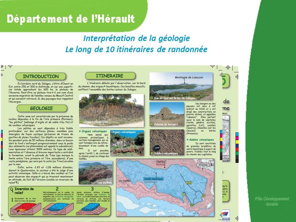 Interprétation de la géologie Le long de 10 itinéraires de randonnée