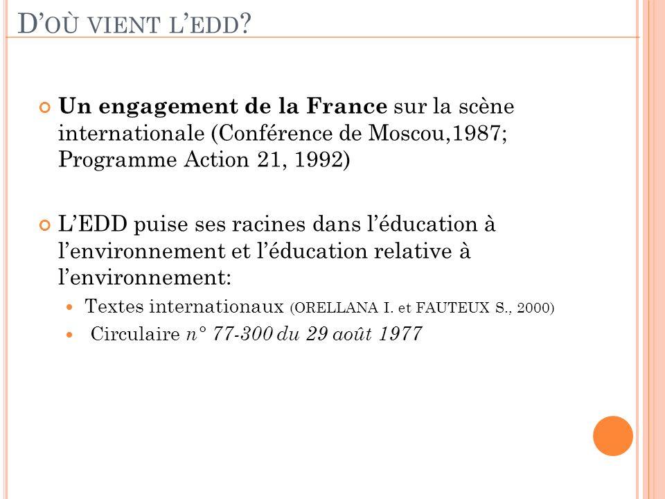 D OÙ VIENT L EDD ? Un engagement de la France sur la scène internationale (Conférence de Moscou,1987; Programme Action 21, 1992) LEDD puise ses racine