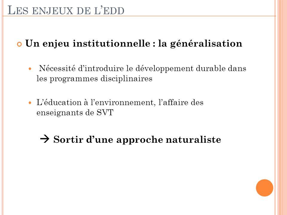 Un enjeu institutionnelle : la généralisation Nécessité dintroduire le développement durable dans les programmes disciplinaires Léducation à lenvironn