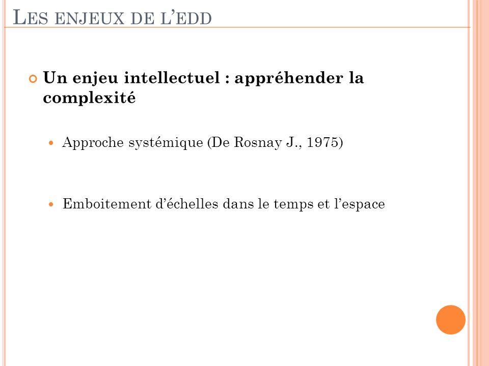 Un enjeu intellectuel : appréhender la complexité Approche systémique (De Rosnay J., 1975) Emboitement déchelles dans le temps et lespace L ES ENJEUX