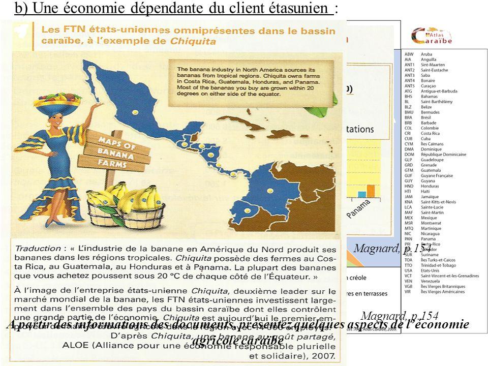 b) Une économie dépendante du client étasunien : Magnard, p.154 A partir des informations des documents, présentez quelques aspects de léconomie agricole caraïbe