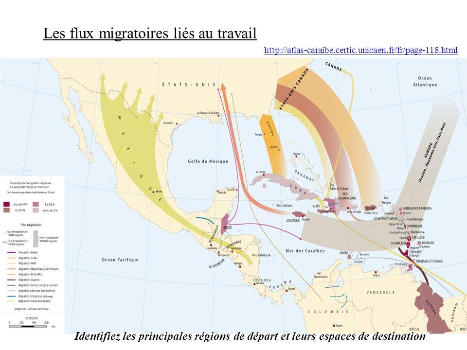 http://atlas-caraibe.certic.unicaen.fr/fr/page-118.html Les flux migratoires liés au travail Identifiez les principales régions de départ et leurs espaces de destination