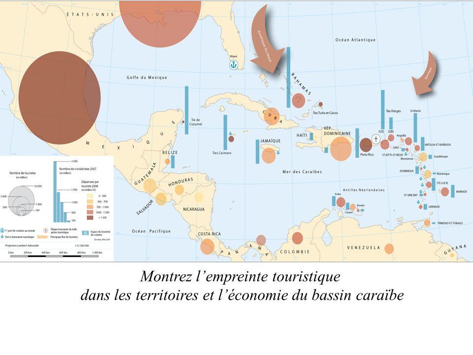Montrez lempreinte touristique dans les territoires et léconomie du bassin caraïbe