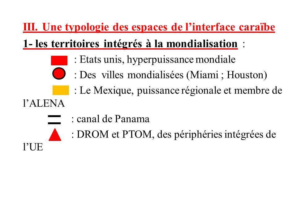III. Une typologie des espaces de linterface caraïbe 1- les territoires intégrés à la mondialisation : : Etats unis, hyperpuissance mondiale : Des vil