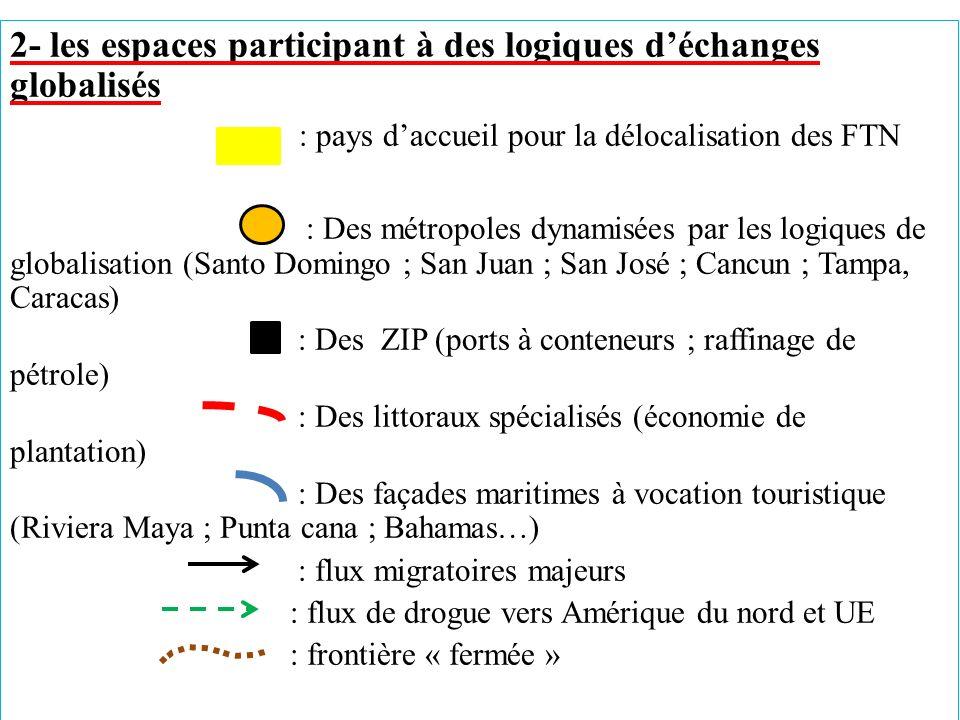 2- les espaces participant à des logiques déchanges globalisés : pays daccueil pour la délocalisation des FTN : Des métropoles dynamisées par les logi