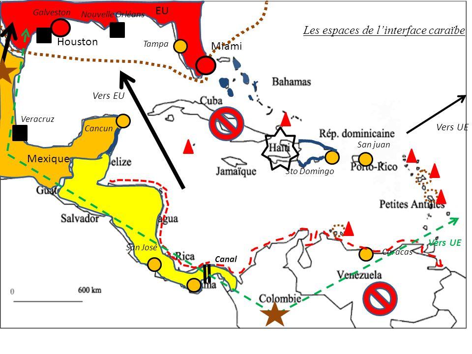 Houston Miami EU Mexique Canal Tampa Sto Domingo San juan Cancun Caracas Nouvelle Orléans Galveston Veracruz Vers UE Vers EU Vers UE San José Les espaces de linterface caraïbe