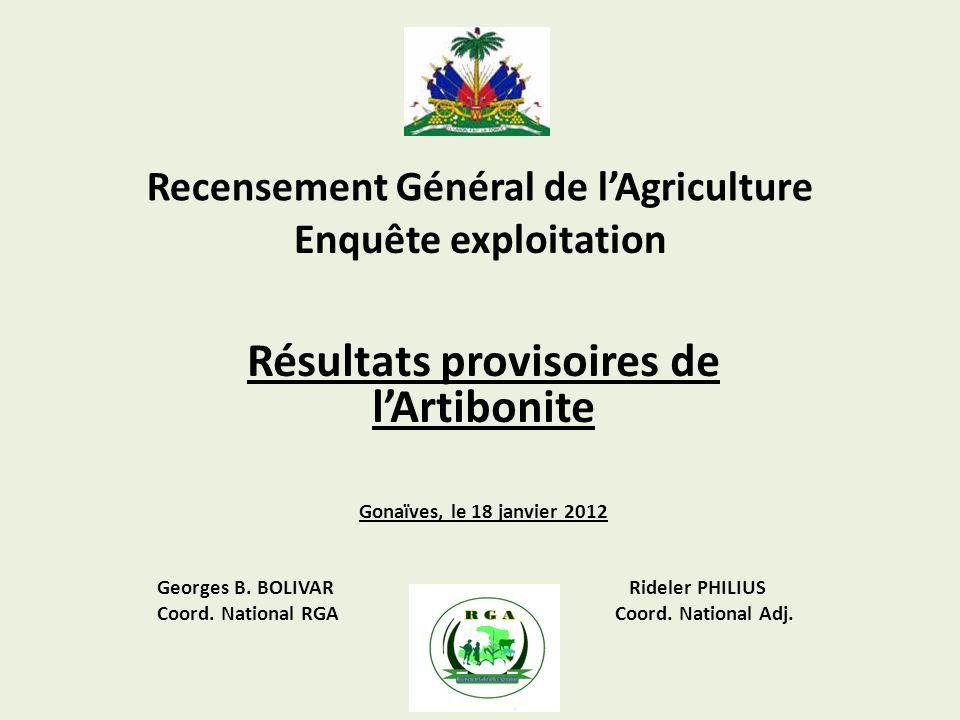 Recensement Général de lAgriculture Résultats provisoires de lArtibonite Gonaïves, le 18 janvier 2012 Georges B.