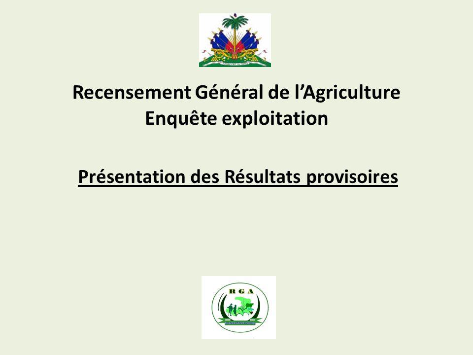 Recensement Général de lAgriculture Présentation des Résultats provisoires Enquête exploitation