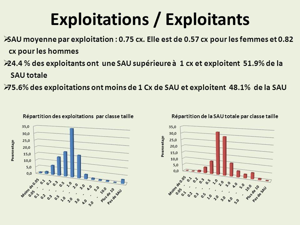 Exploitations / Exploitants SAU moyenne par exploitation : 0.75 cx.