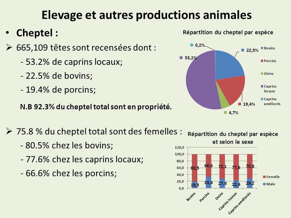 Elevage et autres productions animales Cheptel : 665,109 têtes sont recensées dont : - 53.2% de caprins locaux; - 22.5% de bovins; - 19.4% de porcins; N.B 92.3% du cheptel total sont en propriété.